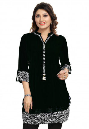 Printed Georgette Tunic in Black