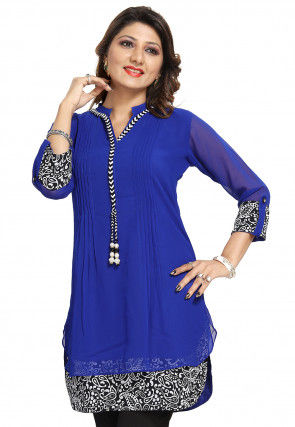 Printed Georgette Tunic in Blue