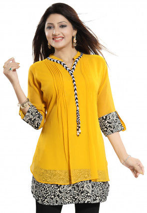 Printed Georgette Tunic in Mustard