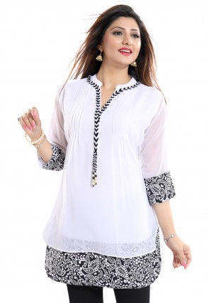 Printed Georgette Tunic in Off White