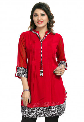 Printed Georgette Tunic in Red