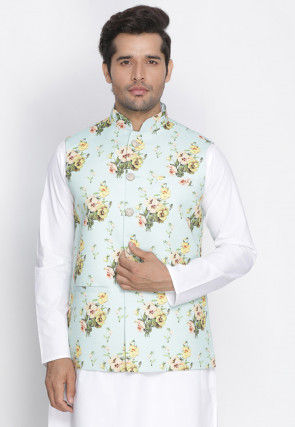 Printed Jute Cotton Nehru Jacket in Light Sea Green