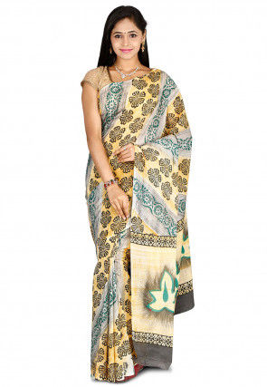 Printed Kerala Kasavu Cotton Saree in Light Mustard and Grey