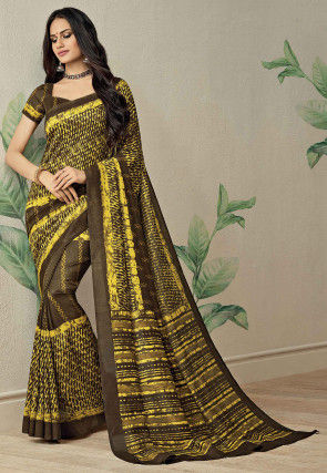 Printed Kota Doria Saree in Brown