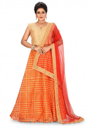 Printed Kota Silk Lehenga in Orange