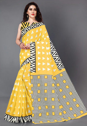 Printed Kota Silk Saree in Yellow