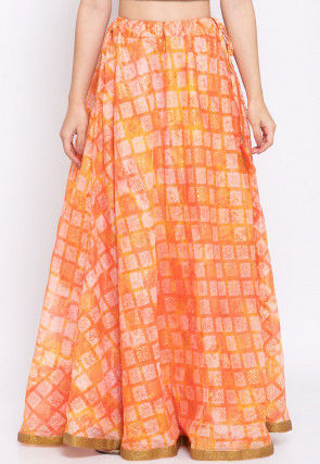 Printed Kota Silk Skirt in Shaded Orange and Yellow