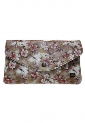 Printed Leather Envelope Wallet in Beige