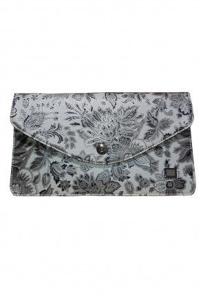 Printed Leather Envelope Wallet in Off White