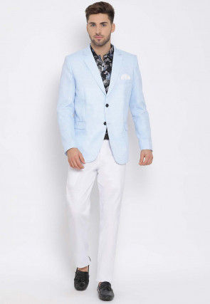 Printed Linen Blazer Set in Blue and Black