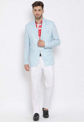 Printed Linen Blazer Set in Blue and Red
