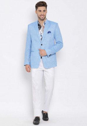 Printed Linen Blazer Set in Blue