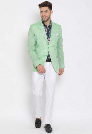 Printed Linen Blazer Set in Green and Blue