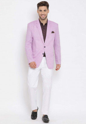 Printed Linen Blazer Set in Lilac and Maroon