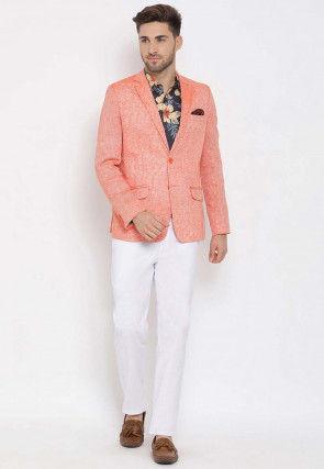 Printed Linen Blazer Set in Orange and Black