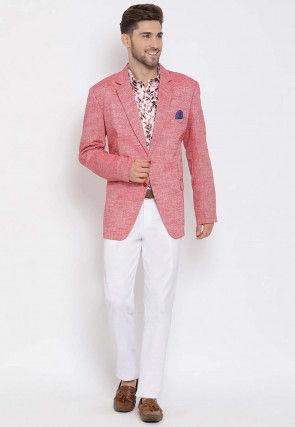 Printed Linen Blazer Set in Pink