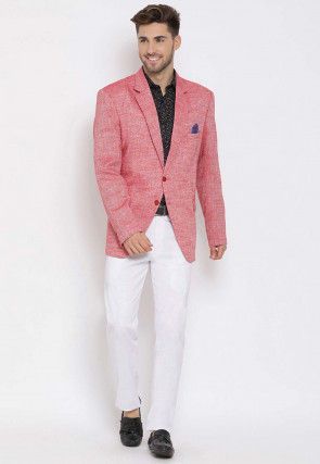 Printed Linen Blazer Set in Red and Black
