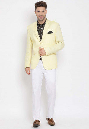 Printed Linen Blazer Set in Yellow and Black