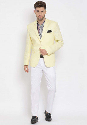 Printed Linen Blazer Set in Yellow and Multicolor
