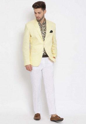 Printed Linen Blazer Set in Yellow