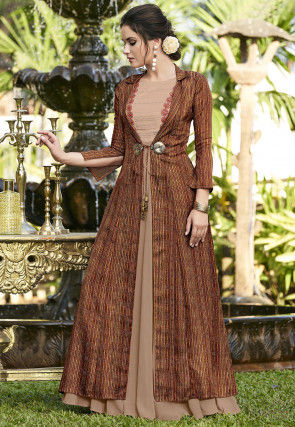 Printed Linen Cotton Jacket Style Gown in Peach and Brown