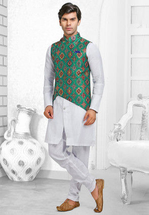Printed Linen Kurta Jacket Set in White and Teal Green