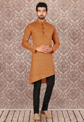Printed Linen Kurta Set in Orange