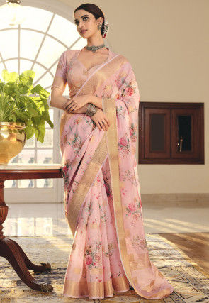 Printed Linen Saree in Baby Pink