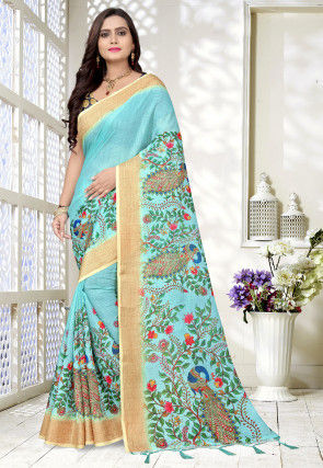 Printed Linen Saree in Light Blue