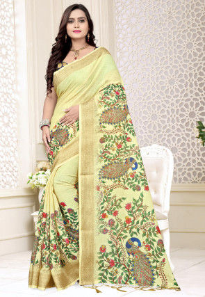 Printed Linen Saree in Light Yellow