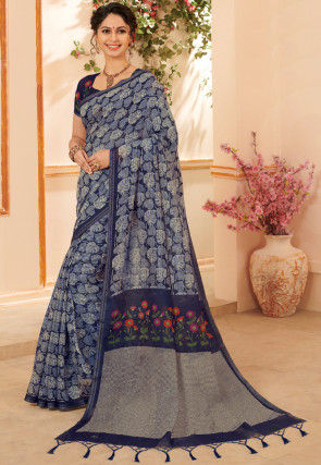 Printed Linen Saree in Navy Blue