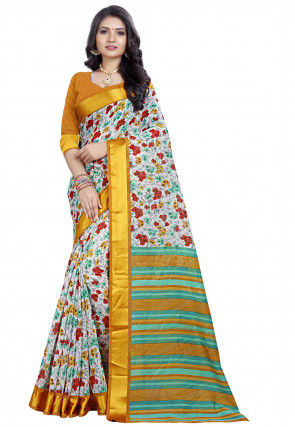 Printed Linen Saree in Off White