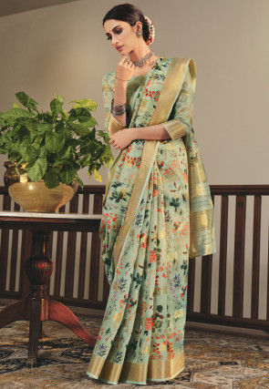 Printed Linen Saree in Pastel Green