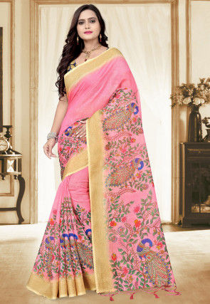 Printed Linen Saree in Pink