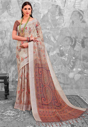 Printed Linen Silk Saree in Beige and Brown