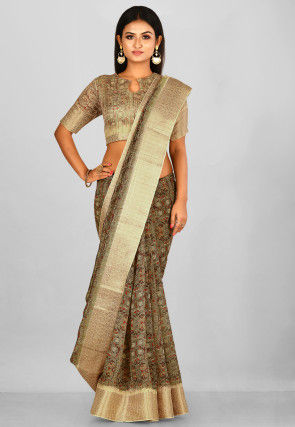 Printed  Linen Silk Saree in Grey