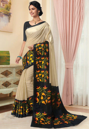 Printed Linen Silk Saree in Light Beige and Black