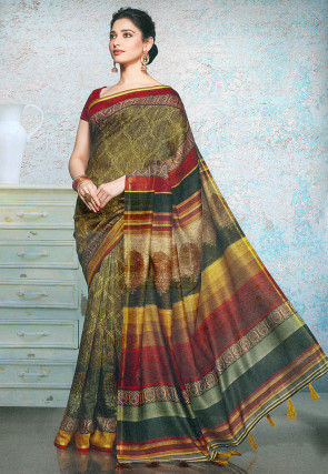 Printed Linen Silk Saree in Olive Green