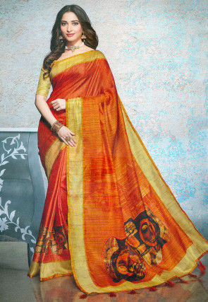 Printed Linen Silk Saree in Rust
