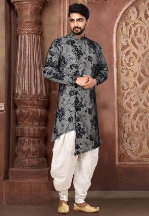Printed Lycra Dhoti Sherwani in Blue