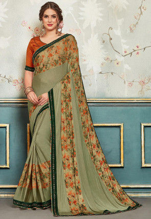 Printed Lycra Georgette Saree in Dusty Green