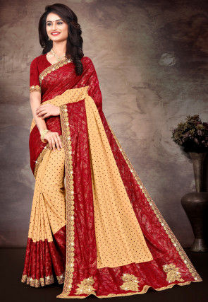 Printed Lycra Saree in Beige and Red