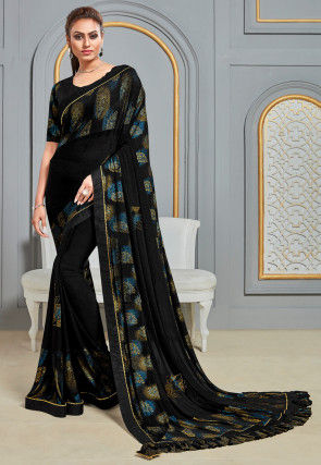 Printed Lycra Saree in Black