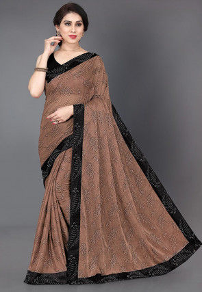 Printed Lycra Saree in Brown