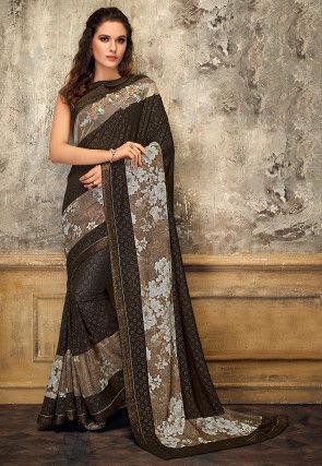 Printed Lycra Saree in Brown