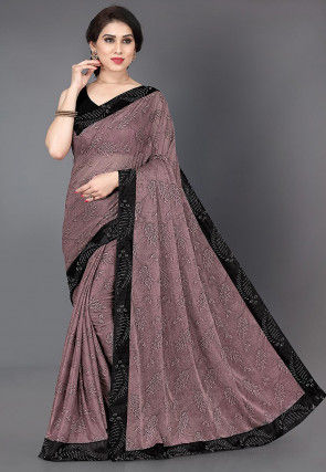 Printed Lycra Saree in Dusty Lilac