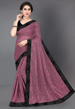 Printed Lycra Saree in Dusty Pink