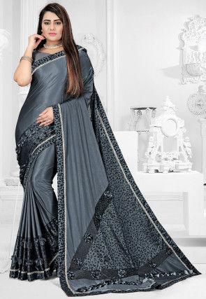 Printed Lycra Saree in Grey