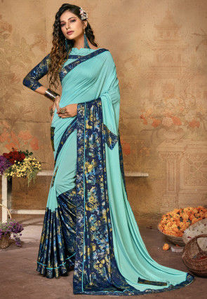 Printed Lycra Saree in Light Blue
