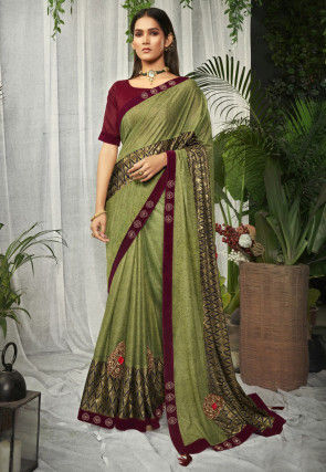 Printed Lycra Saree in Light Green